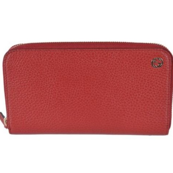 Gucci Handbags - NWT Gucci Red Leather Zip Wallet GG Plaque 449347